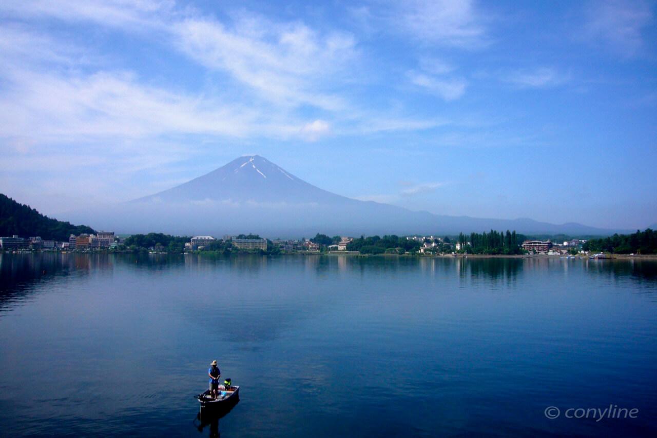 7月、河口湖からの富士山